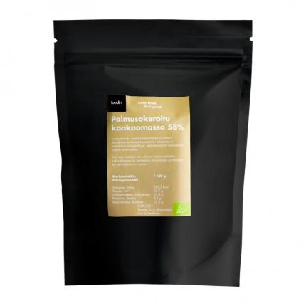 Foodin Palmusokeroitu kaakaomassa 58%, luomu, 250 g
