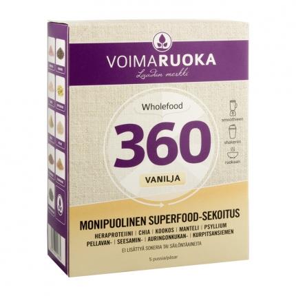 Voimaruoka Wholefood 360 -annospussit, vanilja, 250 g