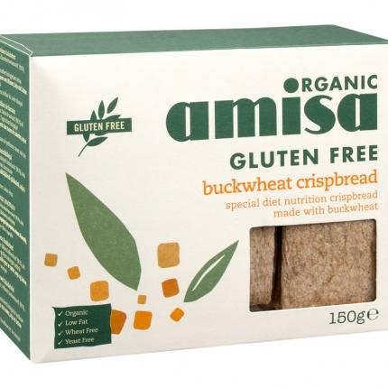 Amisa Organic Gluten Free -tattarinäkkileipä, luomu, 150 g