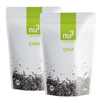 nu3 Chia-siemenet, luomu, tuplapakkaus, 2 x 300 g