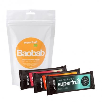 Superfruit Baobab -jauhe ja 3 x Superfruit -patukka, –