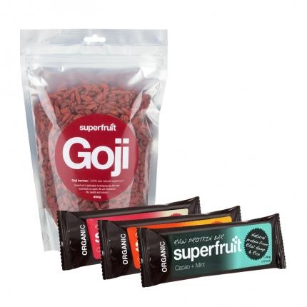 Superfruit Goji-marja ja 3 x Superfruit -patukka, –