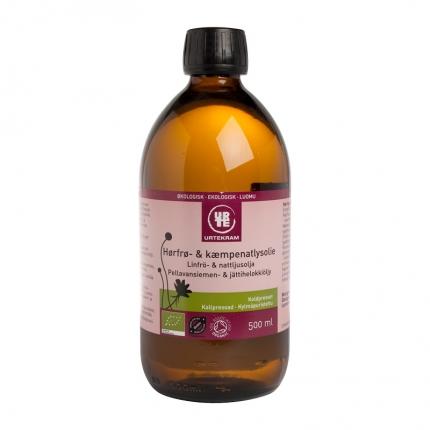 Urtekram Pellavansiemen- ja iltahelokkiöljy, luomu, 500 ml